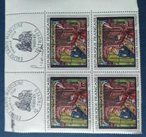 Bloc De 4 Timbres Eglise Sainte Madeleine N° 1531 De 1967 Avec Tampon 1 Jour Et Signature  Graveur Combet - Altri