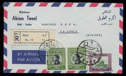 TREASURE HUNT [03001] Jordan 1959 Reg. Cover From Irbid To Le Locle, Switzerland, Bearing 40f + 40f + 10f Franking - Jordanie