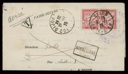 "TREASURE HUNT [03012] France 1925 Judicial Notice From Dijon, Bearing 30c (x2) Postage Due, ""Non Réclamé"" Framed Pmk. - Cartas"