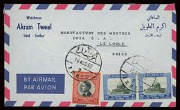 TREASURE HUNT [03020] Jordan 1959 Air Mail Cover Sent From Irbid To Le Locle, Switzerland Bearing 20f Pair+ 15f - Jordanie