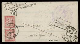 "TREASURE HUNT [03032] France 1925 Judicial Notice From Dijon, Bearing 30c Vertical Pair Postage Due, ""Non Réclamé"" Pmk. - Cartas"