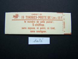 1974-C3 CONF. 9 CARNET DATE DU 7.7.78 FERME 10 TIMBRES SABINE DE GANDON 1,20 ROUGE CODE POSTAL (BOITE C) - Standaardgebruik