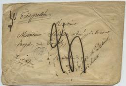 """Taxes 24 Et 50 Décimes / Enveloppe 1842 (?) De Lorient Pour Rennes. Marque Manuscrite """"très Pressée"""". - 1801-1848: Precursors XIX"""