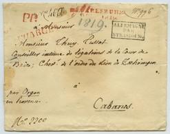 Chargé En Port Payé 1819 De Karlsruhe Pour Cabanes Près Orgon (Bouches-du-Rhône). Entrée Par Strasbourg. Diplomatie. - 1801-1848: Precursors XIX