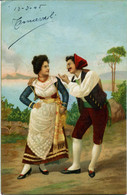 NAPOLI  Costumi Tradizionali  Corteggiamento  1905 - Costumes