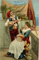 NAPOLI  Costumi Tradizionali Con Mandolino E Tamburello 1905 - Costumes