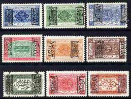 Saudi Arabia - Hejaz 1925 Set Of 9 With Jeddah Opt (6 With Opt Inverted) Mounted Mint, SG 177C-185C - Saoedi-Arabië