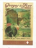Cp , Publicité , Cheminsde Fer , Ligne P.L.M. D'Aix Les Bains à Annecy ,GORGES DU FIER Prés Annecy , Vierge - Werbepostkarten