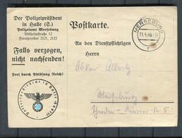 """Deutsches Reich / 1940 / Vordruckpostkarte Ex """"Polizeipraesident In Halle"""", Musterung Betreffend (4361) - Storia Postale"""