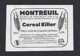 Etiquette De Bière Ambrée -  Céréal Killer -    Brasserie  De Montreuil Sur Ille  (35)  -  (petite étiquette) - Beer