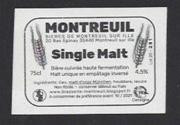 Etiquette De Bière Cuivrée -  Single Malt -    Brasserie  De Montreuil Sur Ille  (35)  -  (petite étiquette) - Beer