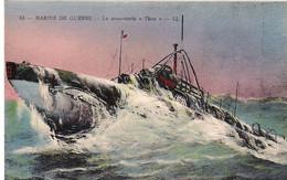 """LE SOUS-MARIN """" THON """"  Vu Par R.DUMONT-DUPARC  ,  Peintre Du Ministère De La Marine  * - Onderzeeboten"""