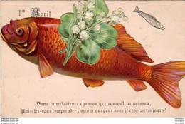 1er AVRIL POISSON D'AVRIL - Carte Gaufrée Avec Découpis De Chromos Collés     .... CARPE ET MUGUET - April Fool's Day