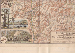 Rare Carte The White Mountains Of New Hamphire (Etats-Unis), National Geographic Society, 1937 - Topographical Maps