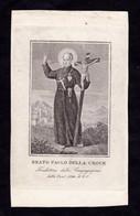 Incisione: B. PAOLO DELLA CROCE  - XIX Sec. - RI-INC - Religione & Esoterismo