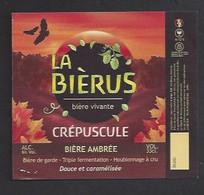 Etiquette De Bière Ambrée  -  Crépuscule  -  Brasserie La Bièrus  à  Plainoiseau   (39) - Beer