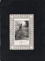 Image Pieuse Religieuse Canivet Dentelle Garde Toi Chrétien De T'arréter Dans La Voie Du Salut  9cmX6cm Année 1900 - Santini
