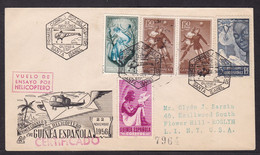 Spanish Guinea: FFC First Flight Cover, 1956, 5 Stamps, By Helicopter, Aviation (minor Discolouring) - Guinea Espagnole