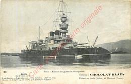 Cuirassé Garde-côte  VALMY . Flotte De Guerre Française . CPA CHocolat KLAUS ; - Guerra