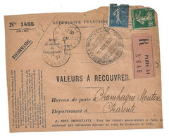DEVANT De LETTRE 1927 - MUTUELLE DES DÉPARTEMENTS ET DES COMMUNES → CHAMPAGNE MOUTON CHARENTE - VALEURS - SEMEUSE - 1921-1960: Modern Period