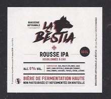 Etiquette De Bière Rousse IPA  -   Brasserie La Bestia  à  Chanac  (48) - Beer