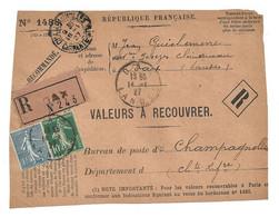 DEVANT De LETTRE 1927 - JEAN GUICHEMERRE DAX LANDES → CHAMPAGNOLLES CHARENTE - VALEURS - SEMEUSE - 1921-1960: Modern Period
