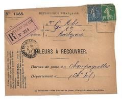 DEVANT De LETTRE 1927 - VEUVE RIBE BARBEZIEUX → CHAMPAGNOLLES CHARENTE - VALEURS - SEMEUSE - 1921-1960: Modern Period