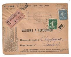 DEVANT De LETTRE 1927 - MIRAMBEAU CHARENTE → CHAMPAGNOLLES CHARENTE - VALEURS - SEMEUSE - 1921-1960: Modern Period