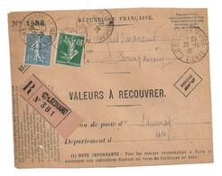 DEVANT De LETTRE 1926 - SAINT LÉONARD LE NOBLAT BOURGANEUF → SAUVIAT SUR VIGE Hte VIENNE - VALEURS - SEMEUSE - 1921-1960: Modern Period
