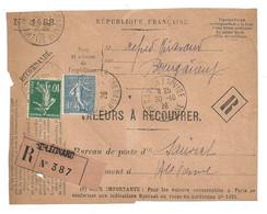 DEVANT De LETTRE 1926 -  SAINT LÉONARD BOURGANEUF → SAUVIAT SUR VIGE Hte VIENNE - VALEURS - SEMEUSE - 1921-1960: Modern Period