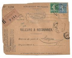 DEVANT De LETTRE 1927 -  L'ABEILLE L. BARBET LIMOGES  → COUZIEX HAUTE VIENNE - VALEURS - SEMEUSE - 1921-1960: Modern Period