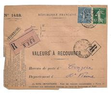 DEVANT De LETTRE 1927 - LIMOGES  → COUZIEX HAUTE VIENNE - VALEURS - SEMEUSE - 1921-1960: Modern Period