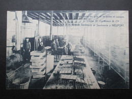 CP BELGIQUE (M2115) NIEUPORT Usine H. Carbonez & Cie (2 Vues) Grande Sardinerie Et Saurisserie - Salle De Fabrication - Nieuwpoort