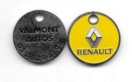 Jeton De Caddie  Ville, Automobiles  RENAULT  VALMONT  AUTOS  à  VALMONT  ( 76 ) Recto  Verso - Einkaufswagen-Chips (EKW)
