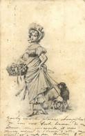 Illustrateur Style Vienne Jeune Femme Avec Des Moutons En Laisse RV - Women