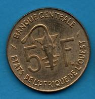 ETATS DE L'AFRIQUE DE L'OUEST 5 FRANCS 1986 KM# 2a Gazelle - Other - Africa