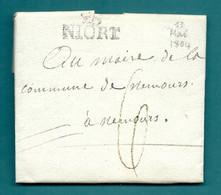 Deux Sèvres - Niort. LAC Ecrite Par BELLOC, Capitaine Au 22e Reigment De Chasseurs à Cheval Pour NEMOURS. 1804 - 1801-1848: Precursors XIX