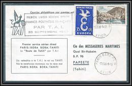 10237 1ère Liaison Aérienne Directe France Polynésie Par Tai 28/9/1959 Papete Lettre Cover France Aviation - Eerste Vluchten