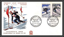 10631 N°1326/1327 Championnats Du Monde De Ski Chamonix 1962 Fdc Enveloppe Premier Jour Lettre Cover France - 1960-1969