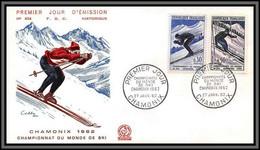 10632 N°1326/1327 Championnats Du Monde De Ski Chamonix 1962 Fdc Enveloppe Premier Jour Lettre Cover France - 1960-1969