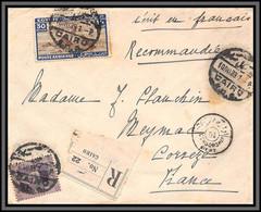 11941 Recommandé Cairo 1933 Pour Meymac Corrèze Censure Censor Lettre Cover Egypte Egypt - Lettres & Documents