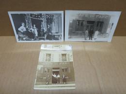 CLAMECY (58) 3 Cartes Photos Devanture Café Du Parc Rue Du Président Wilson Ex Rue De Beuvron - Clamecy