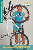 CARTE CYCLISME ALEXANDRE VINOKOUROV SIGNEE TEAM ASTANA 2011 - Cycling