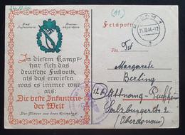 """Deutsches Reich 1944, Feldpostkarte """"Infanterie Sturmabzeichen"""" RADOM 21.10.44 Gouvernement - Briefe U. Dokumente"""