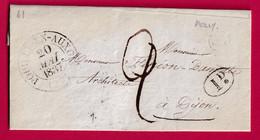 CAD TYPE 13 POUILLY EN AUXOIS COTE D'OR OR + DECIME RURALE MEILLY SUR ROUVRES 1837 POUR DIJON - 1801-1848: Precursors XIX