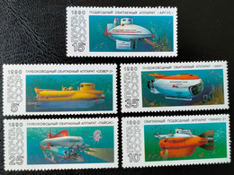 RUSSIA  MNH (**)1990 Research Submarines    Mi 6138-6142 - Unused Stamps