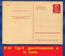 "DDR  PK  MiNr. P 64 A  Typ II Geschlossenes ""a""   Druckvermerk   III-18-185  Pieck Halblinks Für Ausland   * Ungebraucht - Postkarten - Ungebraucht"