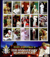 THE GAMBIA - BLOCK SHEET - POPE JOHN PAUL II - MINT NOT HINGED SOUVENIR 2.15 - Papes