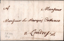 E2 - ESTERO (FRANCIA - GRAN BRETAGNA) - PREFILATELICA DA PARIGI A LONDRA 1704 - ...-1850 Voorfilatelie