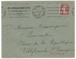 15c SEMEUSE SUR ENVELOPPE / PARIS 119Bd RICHARD LENOIR POUR VILLEFRANCHE AVEYRON 1930 - 1921-1960: Modern Period